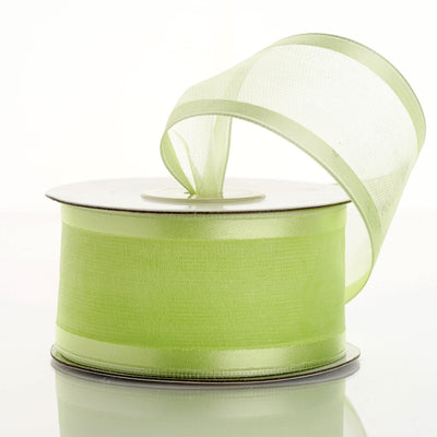 "10 Yard 1.5"" DIY Apple Green Organza Ribbon With Wired Edged"