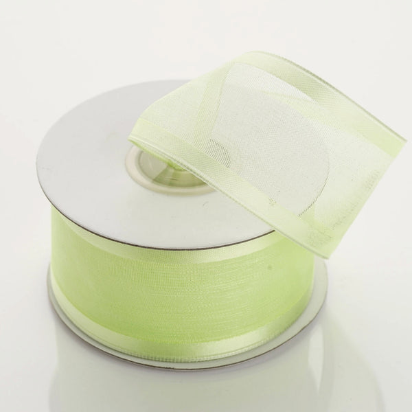 "10 Yard 1.5"" DIY Apple Green Organza Ribbon With Wired Edged - Clearance SALE"