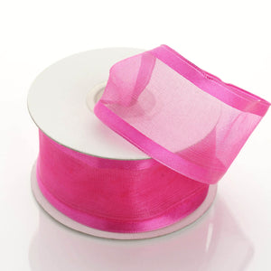"10 Yard 1.5"" DIY Fushia Organza Ribbon With Wired Edged"