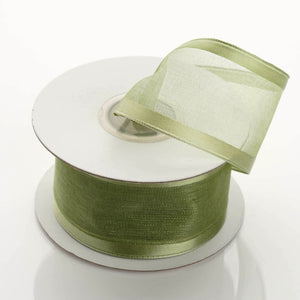 "10 Yards 1.5"" Moss Green Wholesale Sheer Organza Wired Ribbon"