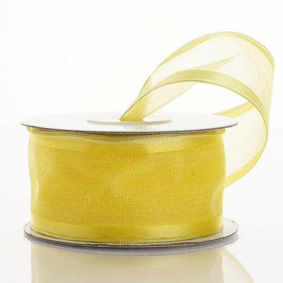 "10 Yard 1.5"" DIY Yellow Organza Ribbon With Wired Edged"