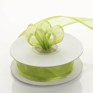 "10 Yards 7/8"" Apple Green Wired Organza Ribbon"