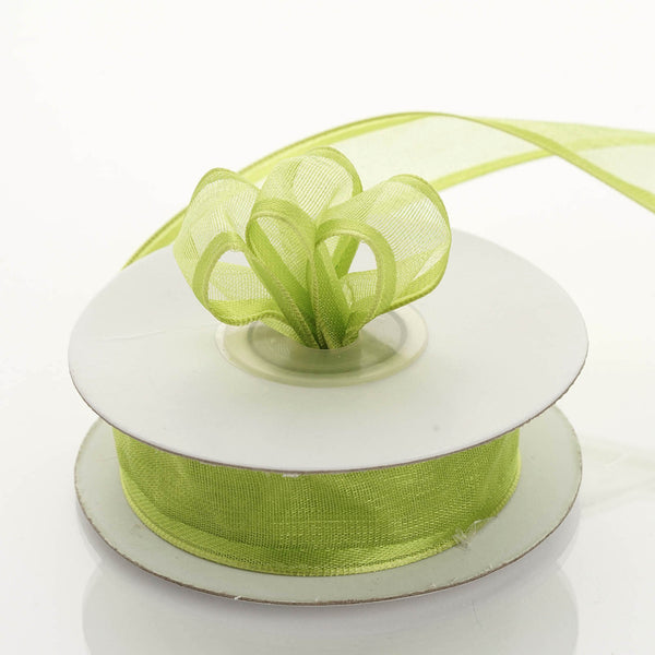 7/8'' | 10 Yard Apple Green Wired Organza Ribbon | Wholesale Ribbon - Clearance SALE