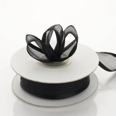 "10 Yards 7/8"" Black Wired Organza Ribbon"