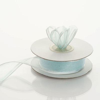 "10 Yards 7/8"" Baby Blue Wired Organza Ribbon"