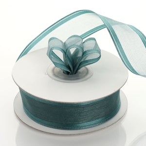 "10 Yards 7/8"" Hunter Emerald Green Wired Organza Ribbon - Clearance SALE"