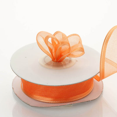 "10 Yards 7/8"" Coral Orange Wired Organza Ribbon"