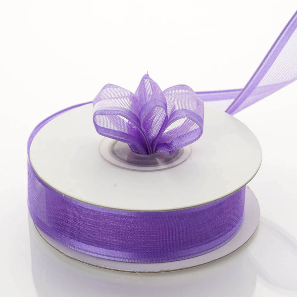 "10 Yards 7/8"" Purple Wired Organza Ribbon - Clearance SALE"