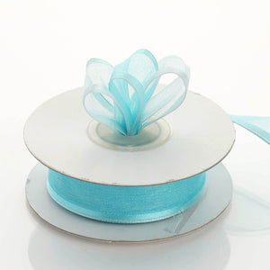 "10 Yards 7/8"" Turquoise Wired Organza Ribbon"