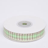 "25 Yards 5/8"" Apple Green/White Buffalo Plaid Ribbon"