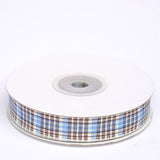 "25 Yards 5/8"" Light Blue/White Buffalo Plaid Ribbon"