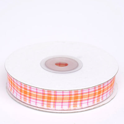 "25 Yards 5/8"" Orange/White Buffalo Plaid Ribbon"