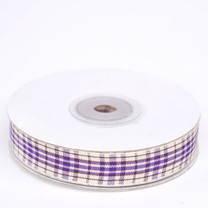 "25 Yards 5/8"" Purple/White Buffalo Plaid Ribbon"