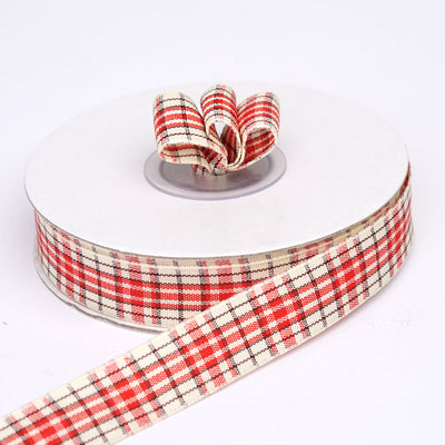 "25 Yards 5/8"" Red/White Buffalo Plaid Ribbon"