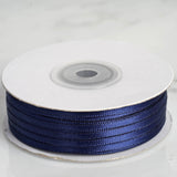 100 Yards 1/8 Inch Navy Blue Satin Ribbon | TableclothsFactory