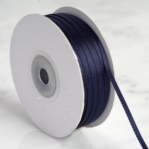 "100 Yards 1/8"" Navy Blue Satin Ribbon"