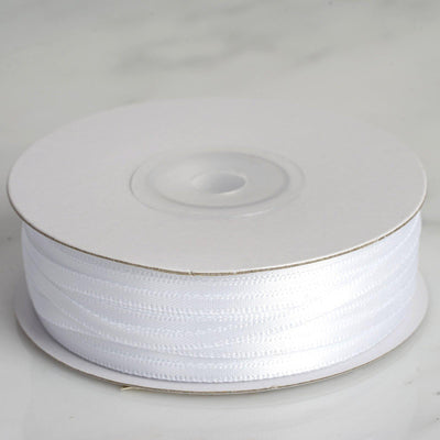 "100 Yards 1/8"" White Satin Ribbon"