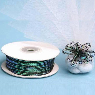 "50 Yards | 1/8"" Black Organza Pull String Bows Ribbon"