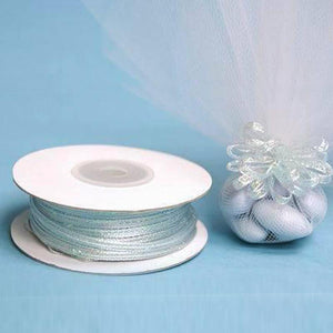 "50 Yards | 1/8"" Baby Blue Organza Pull String Bows Ribbon"