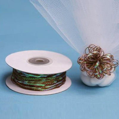 "50 Yards | 1/8"" Chocolate Organza Pull String Bows Ribbon"