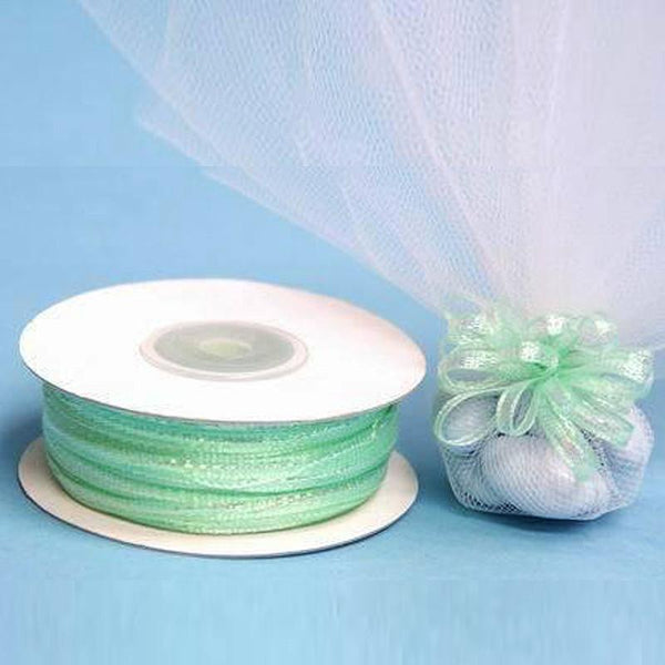 "50 Yards | 1/8"" Mint Organza Pull String Bows Ribbon - Clearance SALE"