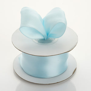 "10 Yards 1.5"" Light Blue Wired Edge Satin Ribbon"