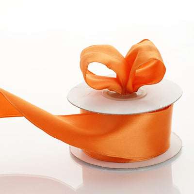 "10 Yards 1.5"" Orange Wired Edge Satin Ribbon"