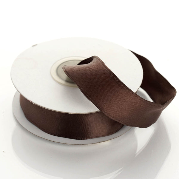 "10 Yards 7/8"" Chocolate Wired Edge Satin Ribbon - Clearance SALE"