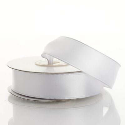 "10 Yards 7/8"" White Wired Edge Satin Ribbon"
