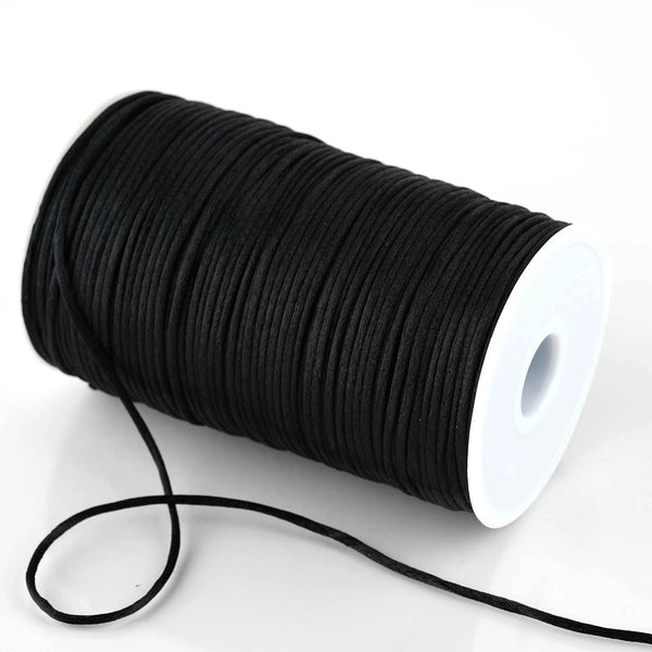 200 Yards 2mm Black Satin Rattail Cord Ribbon