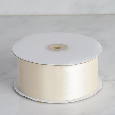 50 yards | 2 Inch Ivory Wholesale Satin Ribbon Roll | TableclothsFactory