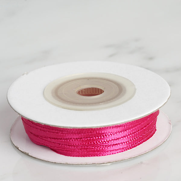 "100 Yards 1/16"" Fushia Single Face Satin Ribbon"