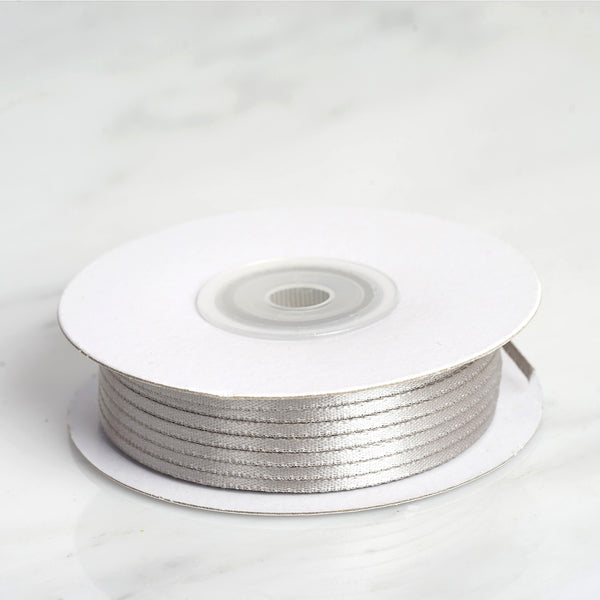 "100 Yards 1/16"" Silver Single Face Satin Ribbon - Clearance SALE"