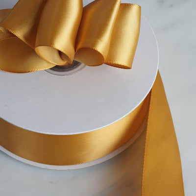 "50 Yards 1.5"" Gold Satin Single Faced Ribbon Wholesale"