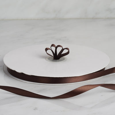 "100 Yards 3/8"" Chocolate Decorative Satin Ribbon"