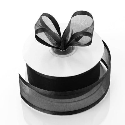 "25 Yards 1.5"" Black Organza Ribbon With Satin Edges"