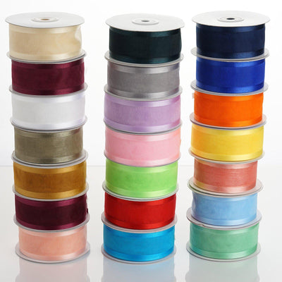 25 Yards | 1.5 Inch Organza Ribbon With Satin Edges | TableclothsFactory