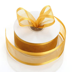 "25 Yards 1.5"" Gold Organza Ribbon With Satin Edges"