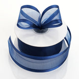 "25 Yards 1.5"" Navy Blue Organza Ribbon With Satin Edges"