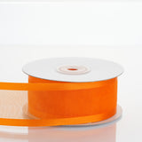 "25 Yards 1.5"" Coral Orange Organza Ribbon With Satin Edges"