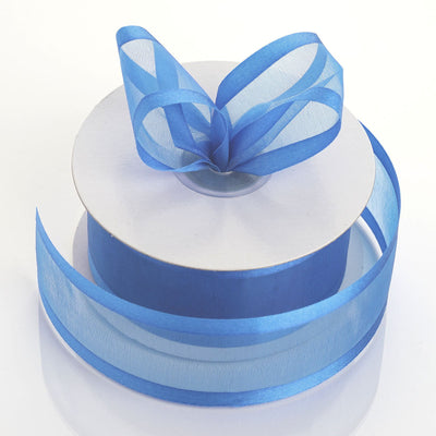 "25 Yard 1.5"" DIY Serenity Blue Organza Ribbon With Satin Edges"