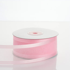 "25 Yard 1.5"" DIY Pink Organza Ribbon With Satin Edges"