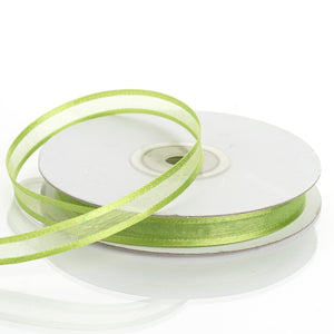 "25 Yards 3/8"" Apple Green Organza Ribbon with Satin Edge"