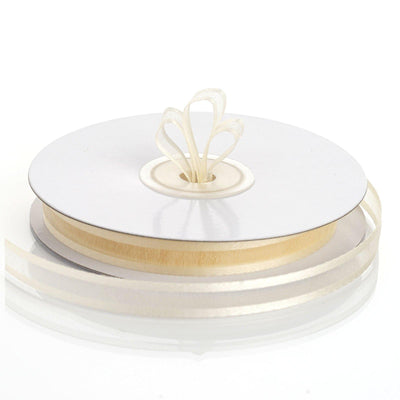 "25 Yards 3/8"" Ivory Organza Ribbon with Satin Edge"