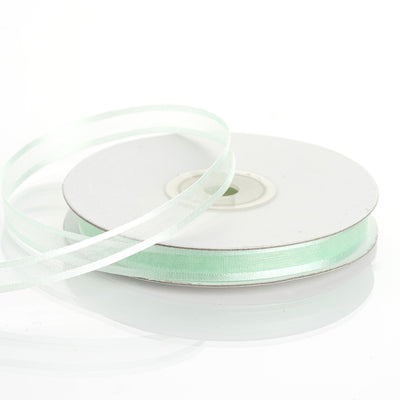 "25 Yards 3/8"" Mint Organza Ribbon with Satin Edge"