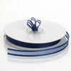 "25 Yards 3/8"" Navy Blue Organza Ribbon with Satin Edge"