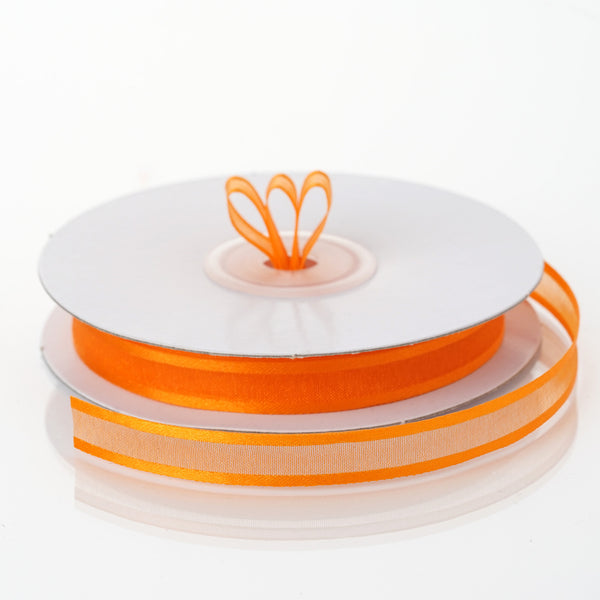 "25 Yards 3/8"" Orange Organza Ribbon with Satin Edge - Clearance SALE"