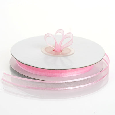 "25 Yards 3/8"" Pink Organza Ribbon with Satin Edge"