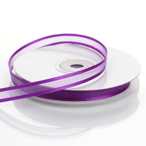 "25 Yards 3/8"" Purple Organza Ribbon with Satin Edge"