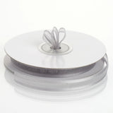"25 Yards 3/8"" Silver Organza Ribbon with Satin Edge"